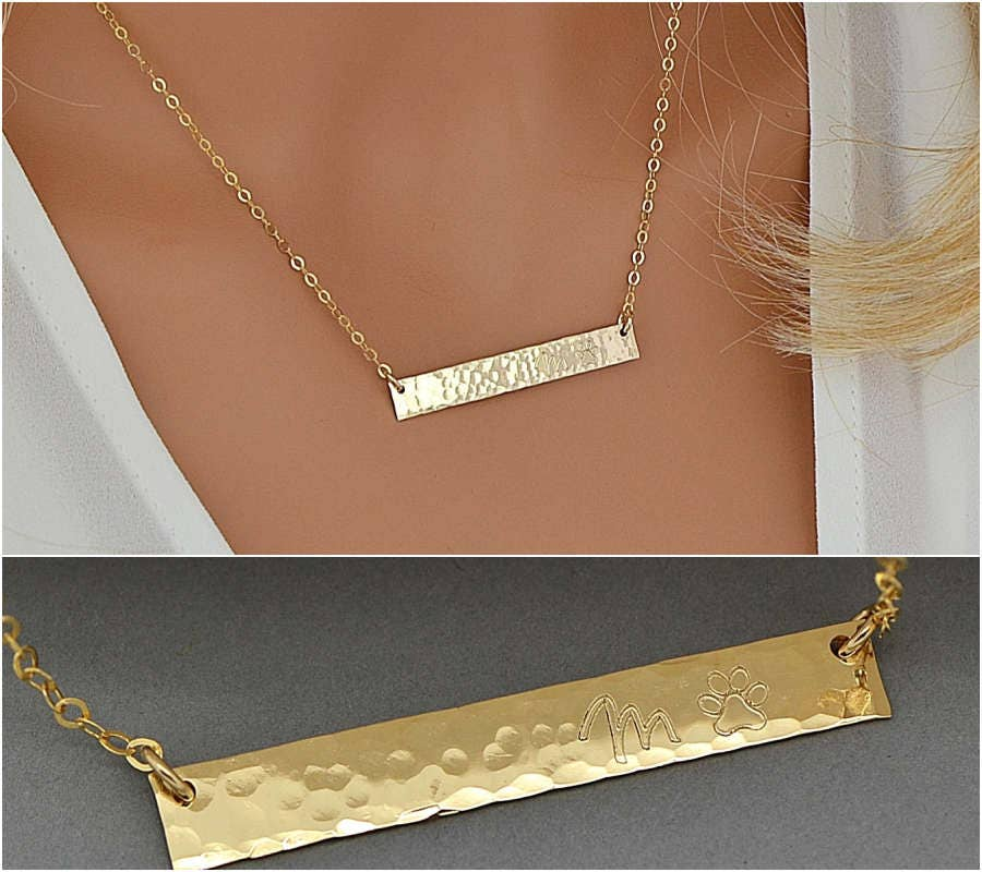 Bar necklace personalized rose gold name necklace monogram for Rose gold personalized jewelry