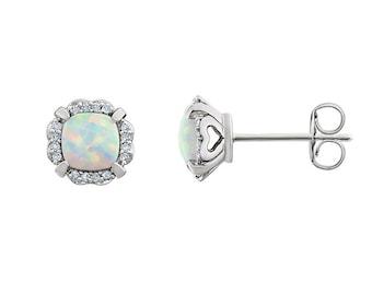 14K Gold Opal Earrings with Diamonds / Opal Earrings Stud