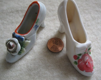 Shoes Figurine Vintage Handpainted Porcelain Heel Figurine Collectible 1940s free shipping in u s a