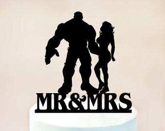 Hulk and She-Hulk Cake Topper,Hulk and Hulk Woman Cake Topper,Wedding Cake Topper,Hulk Wedding Cake Topper,Avengers,Hero Wedding (1109)