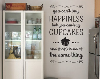 Happiness Cupcake Wall Art Sticker Quote, Vinyl Design For Home Decor