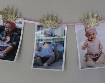 Princess First Birthday Photos Banner Pink and Gold