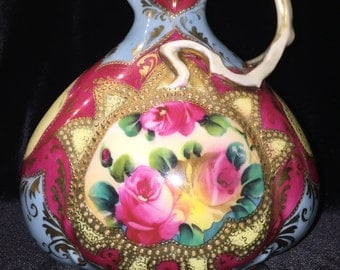Antique Nippon (Not Marked) - Moriage Hand Painted Ewer/Water Pitcher featuring Pink Roses and Heavy Raised Gold Beading