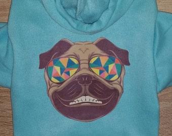 Hipster Pug Dog Hoodie - Dog Clothing - Dog Sweater - Dog Clothes - Pug Shirt - Pug - Dog Shirts - Dog - Cute Dog Hoodie