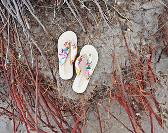 ON SALE SIZE US5 Boho Floral Flip Flops / Wash gold Satin Flip flops / Golding Boho style Sandals / Silky Floral Beach wedding