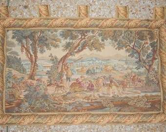 Vintage French Beautiful Hunting Tapestry 060