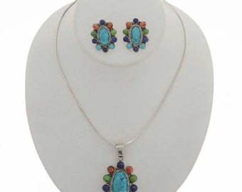 Turquoise Lapis Cluster Pendant Set Post Earrings