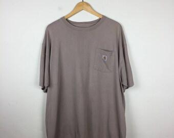Vintage CARHARTT T Shirt Size XL, Taupe Carhartt  Tee