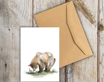 Birthday Bears | A6 Greetings Card | Cake | Party | Celebration | Sweet | Watercolour | Grizzly | Animals | Snowtap