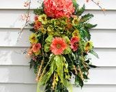 "Spring wreath swag, floral door swag, Spring Summer wreath, ""Just Peachy"", peach hydrangea wreath, swag wreath, teardrop vertical,"