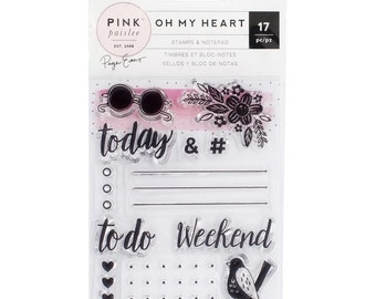 Oh My Heart Stamps & Notepad - 17 PCs - Pink Paislee by Paige Evans