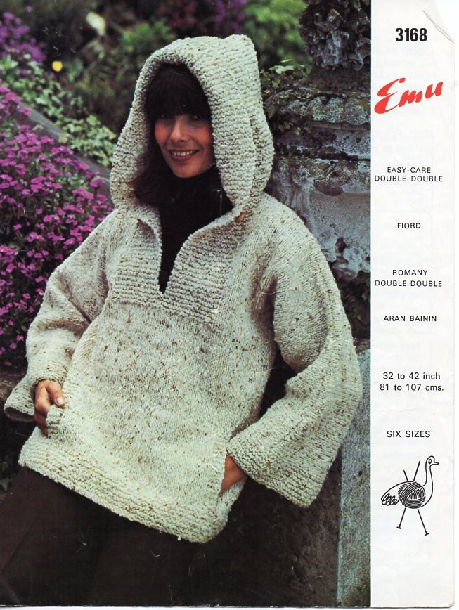Knitting Pattern For Ladies Hood : womens hooded sweater knitting pattern pdf ladies overtop with