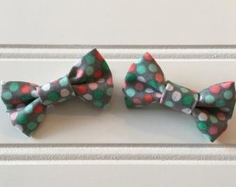 Pigtail bow set/ polka dot pigtail bows/ handmade pigtail bows/ handmade bows/ pigtail bow clips