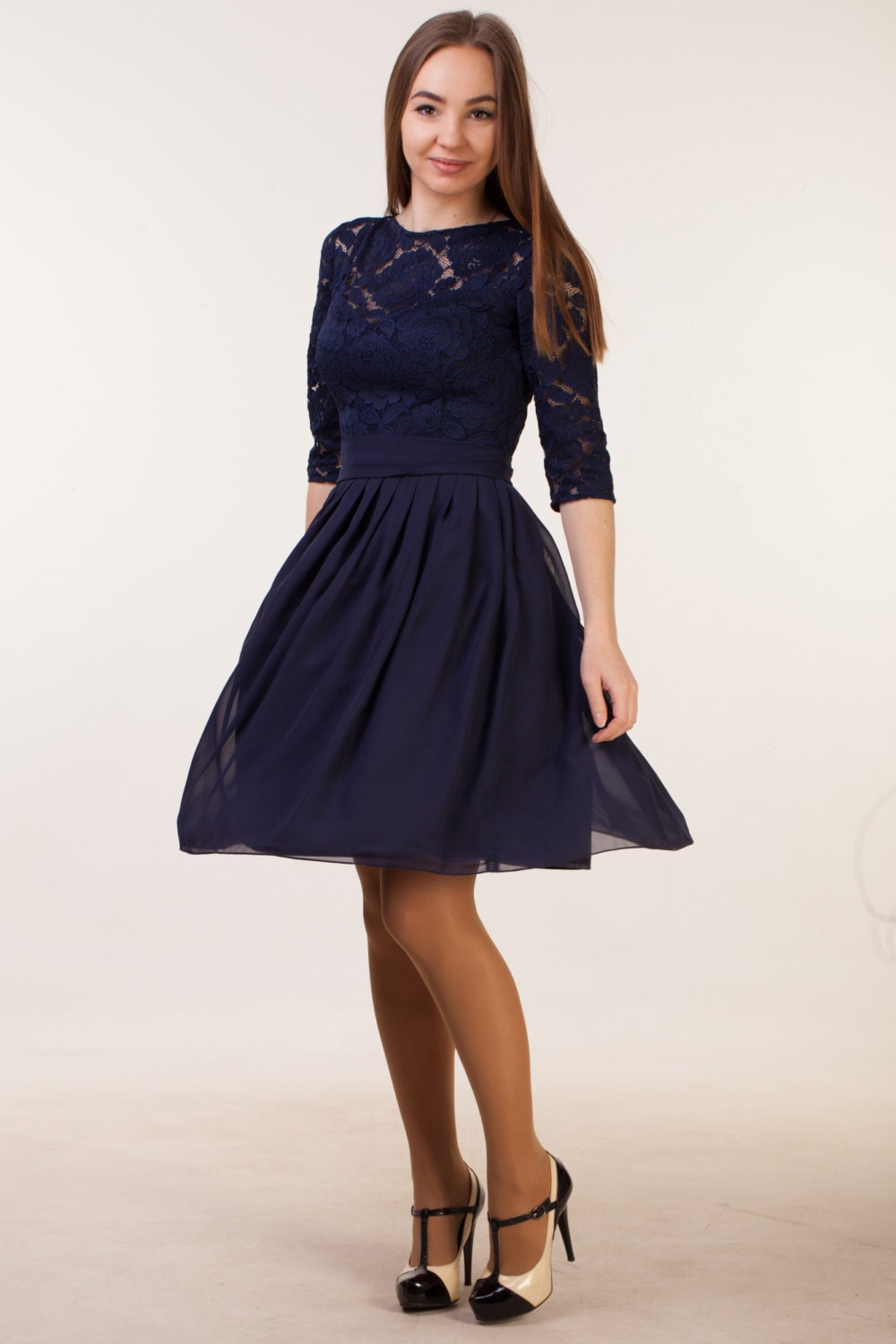 Short navy blue dress with sleeves navy blue bridesmaid dress details short lace navy blue dress ombrellifo Images