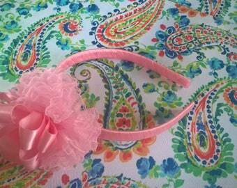 Big Pink Pom Pom Headband