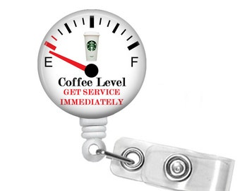 Coffee level Badge Reel, Nurse Retractable ID Badge Holder, Badge Reel, ID Badge Reel