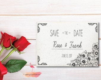 Save The Date, Black and White Save the Date Invitation, Save the Date Invitation