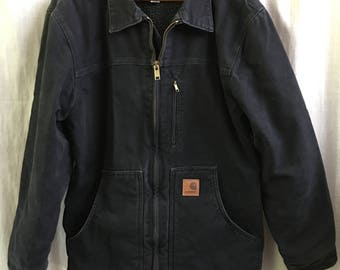 Men's Vintage Carhartt Jacket, Sherpa Lined, Black, Medium