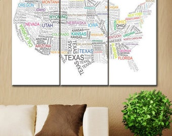 Usa Map collage, Map of united states, State map, State map picture, State map canvas, Collage of states, State collage art, Art canvas