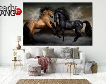 Horse art print, Horse art, Horses painting canvas, Mustang wall art, Horse art canvas,  Horse large art, Horse canvas art, Horse Wall Art
