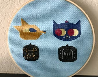 "Night in the Woods - Gregg and Mae 6"" Cross Stitch Hoop"