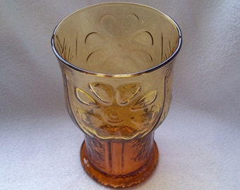 Libbey Country Garden Amber Water Goblet, Amber Water Glass