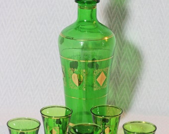 Retro Emerald Green Decanter and Shot Glass Set with Card (or Poker) Design
