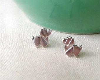 Dog Earrings, Puppy Earrings, Stud Earrings, Animal Earrings, Dog Origami Earrings, Cute Dog Earrings, Animal Jewelry, gift for her