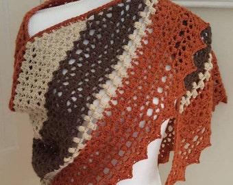 Organic Crochet Shawl - Rust, Brown, Ivory Triangular Wrap