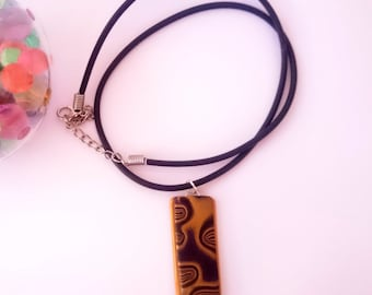Rectangle pendant_unique handmade mokume gane polymer clay jewellery