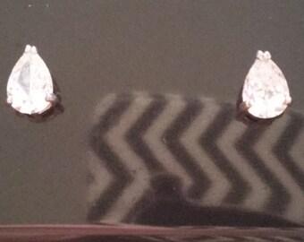 Sterling & CZ Pear Shaped Earrings