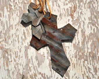 Cross Door Hanger, Cross Decor, Cross Decoration, Metal Cross Wall Art, Corrugated Tin, Corrugated Metal Sign, Religious Wall Art.