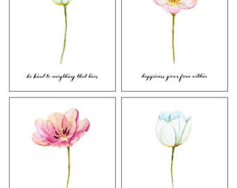 Wall Print - Flower Print Home Decor, Wall art, Pink and White flowers, Printable, Watercolor Flowers
