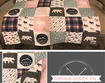 Woodland Quilt, Baby Blanket, Moose, Bear, Pink, Blue, Arrows