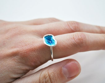 deep lake ring, abyss ring, sea blue, handmade silver ring, geometric ring