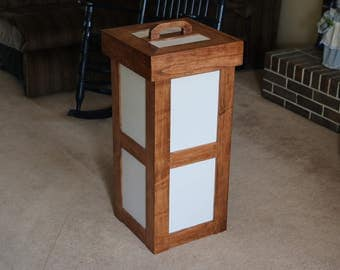 Handmade Wood Kitchen Trash Can With Lid
