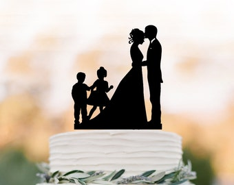 Wedding Cake topper with two child, bride and groom silhouette, personalized wedding cake topper with boy and girl, unique cake topper
