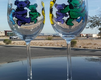wine glasses set of2 hippie hand painted Custom wine glasses Handpainted  Funny Gift dancing bears Personalized drinking glass Decorative
