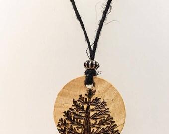Wood Burned Tree Necklace