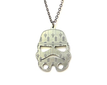 Star Wars Gift, Storm Trooper necklace, Star Wars necklace, Star Wars jewelry, Storm Trooper jewelry, silver acrylic jewellery