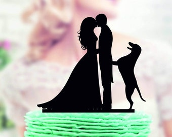 Wedding cake topper with Dog , Silhouette Groom and Bride, Acrylic Cake Topper, Silhouette cake topper with dog, family cake topper