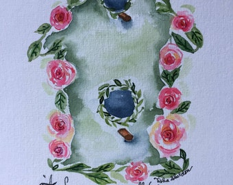 Original Watercolor with Ralph Waldo Emerson Quote, Birdhouse and Rose Floral