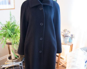 Women's vintage black Wool and Cashmere long coat