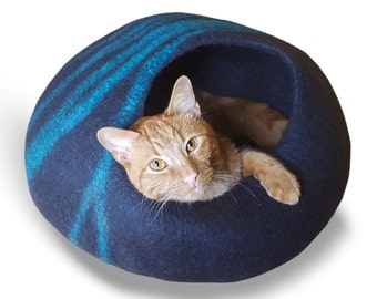 Cat Cave (Large) Wool Cat Bed - Felt Cat Bed - Cat Bed House - Wool Cat Cave - Cat Furniture - Soft Cat Bed-100% Merino Wool (Fast Delivery)