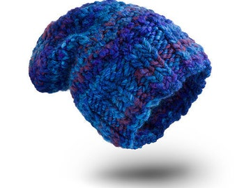 Thick Hat Chunky Cobalt Wool hat for women beanie hat  chunky hand knit hat