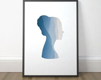 Gift Printable For Women, Girl Silhouette Print, Print Art Gift For Her, Printable Art For Her, Wall Art, Instant Download, Digital Print