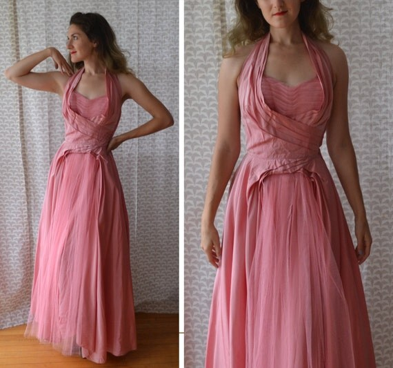 Peony Perfection Dress | vintage pink 50's formal gown / Fred Perlberg taffeta halter