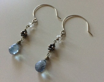 Sterling silver earrings with blue mystic quartz briolette