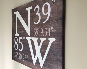 Longitude latitude wood sign