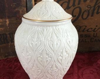 Vintage 1970's Lenox Fleur De Lis Bisque Porcelain Lidded Jar / Vase / Urn with 24K Trim
